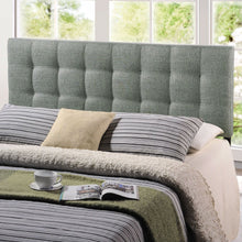Load image into Gallery viewer, King size Grey Fabric Upholstered Headboard with Modern Tufting