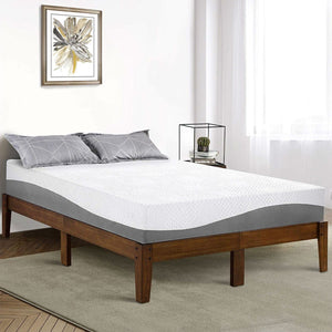 Queen size Solid Wood Platform Bed Frame in Brown Natural Finish
