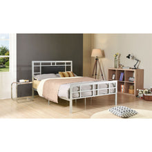 Load image into Gallery viewer, Queen Modern Classic Silver Metal Platform Bed Frame with Upholstered Headboard