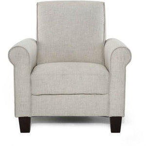 Taupe Tan Linen Upholstered American Style Living Room Arm Chair