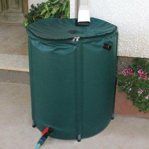 Collapsible 50-Gallon Rain Barrel with Zippered Top in Green Color