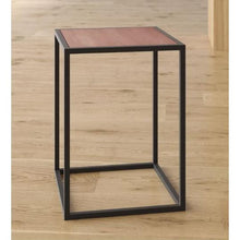 Load image into Gallery viewer, Modern Wood Top Black Metal Frame End Table Nightstand