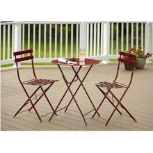 Load image into Gallery viewer, Red 3-Piece Folding Outdoor Patio Furniture Bistro-Style Table and Chairs Set