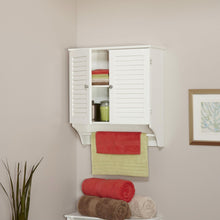 Load image into Gallery viewer, White Bathroom Wall Cabinet with 2 Louver Shutter Doors and Shelf