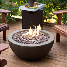 Load image into Gallery viewer, 28-inch Round Gray Enviro Stone Fire Pit Bowl with Propane Tank Hideaway Table