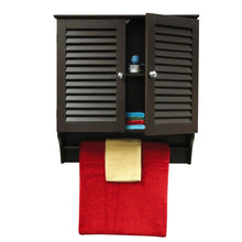 Load image into Gallery viewer, Espresso Wall Mounted Bathroom Cabinet with Shelves and Towel Bar