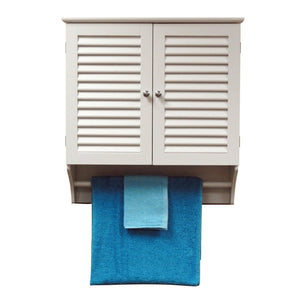 Wall Mounted Bathroom Cabinet with Shelves and Towel Bar in White