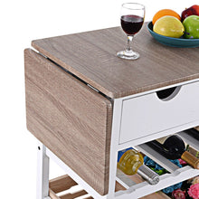 Load image into Gallery viewer, White Wood Kitchen Island Cart with Wine Rack and Wheels