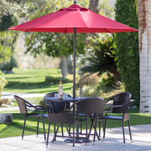 Load image into Gallery viewer, Red 7.5 Ft Patio Umbrella with Dark Mahogany Stained Pole