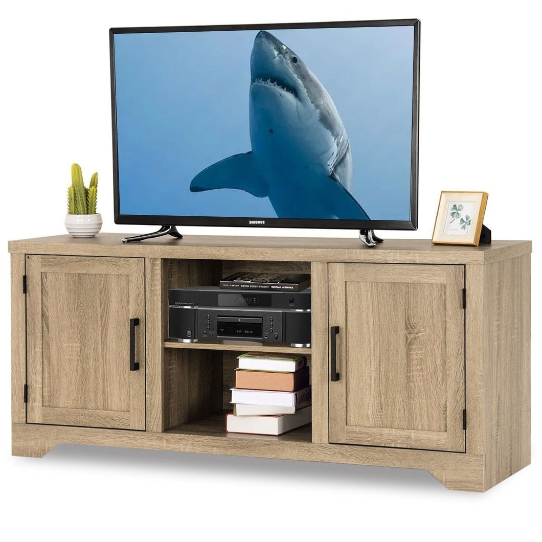 Natural Wood TV Stand Entertainment Center for up to 60-inch TV