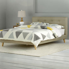 Load image into Gallery viewer, Queen size Mid-Century Style Beige Upholstered Platform Bed