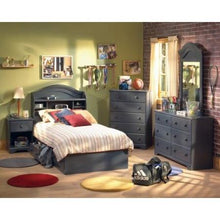 Load image into Gallery viewer, Twin size Platform Bed with 3 Storage Drawer in Dark Blueberry Finish