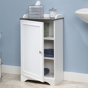 Bathroom Floor Cabinet Linen Storage with Adjustable Shelves in White Finish