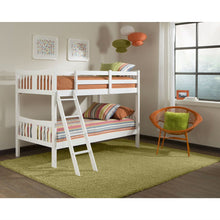 Load image into Gallery viewer, Twin over Twin size Solid Wood Bunk Bed Frame in White Finish