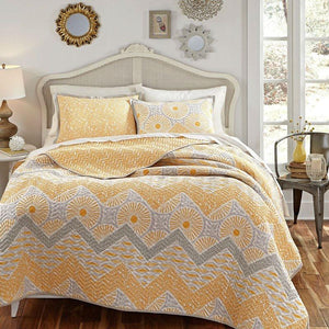 Full / Queen 3 Piece Geometric Sunset Oversized Cotton Quilt Coverlet Set