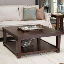 Load image into Gallery viewer, Square Wood Coffee Table in Espresso Finish