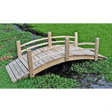 Load image into Gallery viewer, 5-Ft Cedar Wood Garden Bridge with Railings in Natural Finish