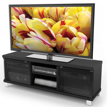 Load image into Gallery viewer, Modern Black TV Stand with Glass Doors - Fits up to 68-inch TV