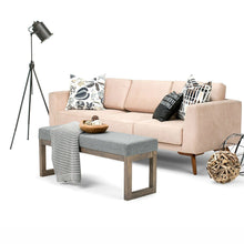 Load image into Gallery viewer, Modern Wood Frame Accent Bench Ottoman with Grey Upholstered Fabric Seat