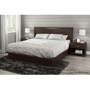 King size Modern Platform Bed with 2 Storage Drawers in Chocolate