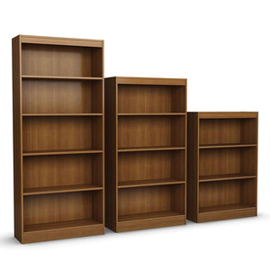 Contemporary 4-Shelf Bookcase in Medium Cherry Wood Finish