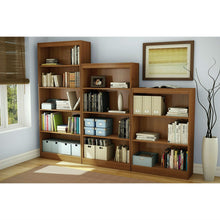 Load image into Gallery viewer, Contemporary 4-Shelf Bookcase in Medium Cherry Wood Finish