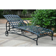 Load image into Gallery viewer, Outdoor Multi-Position Iron Chaise Lounge Chair in Black