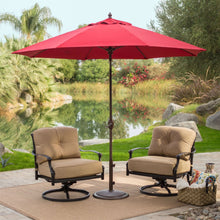Load image into Gallery viewer, Sunbrella 9-Ft Patio Umbrella with Deluxe Tilt in Antique Bronze with Red Shade