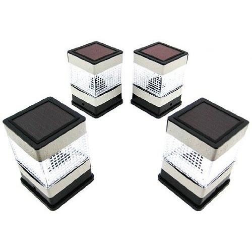 Set of 4 Solar Powered Deck or Post Cap LED Lights