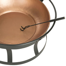 Load image into Gallery viewer, Copper Fire Pit with Black Iron Stand Grate and Fire Poker