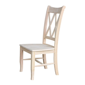 Set of 2 - Traditional Unfinished Wood Dining Chairs