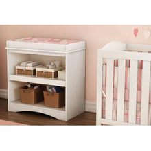 Load image into Gallery viewer, White Wood Baby Furniture Changing Table with Open Storage Space