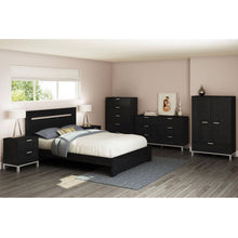 Load image into Gallery viewer, Full / Queen size Contemporary Headboard in Black Oak Finish