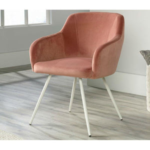 Salmon Pink Upholstered Mid-Century Low Back Armchair Steel Legs