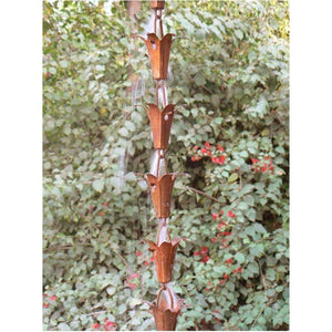 Pure Copper 8.5-Ft Rain Chain with Flower Cups