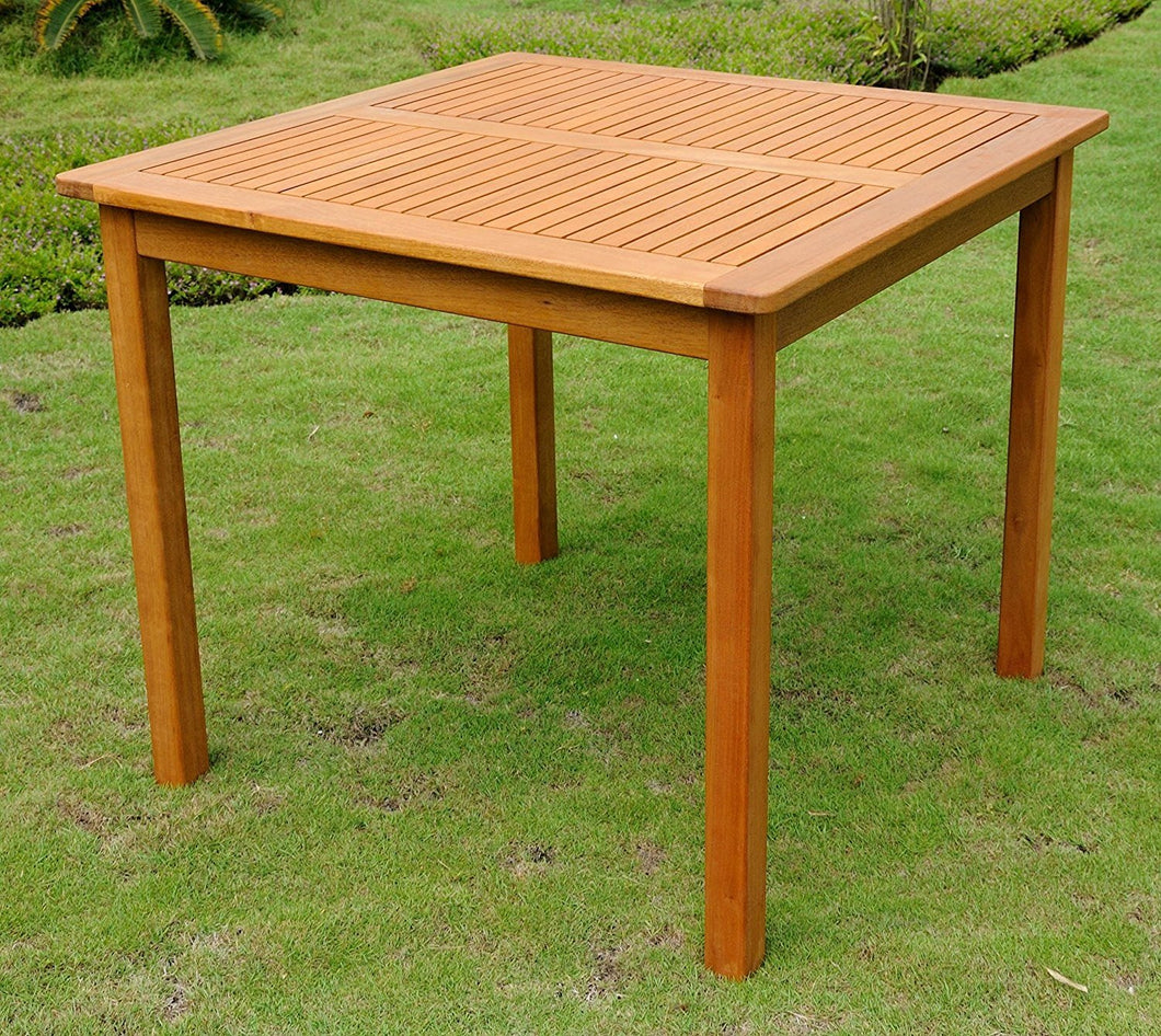 Square 32-inch Outdoor Wood Patio Dining Table