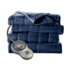 Load image into Gallery viewer, Twin size Quilted Fleece Heated Electric Blanket in Blue Lagoon