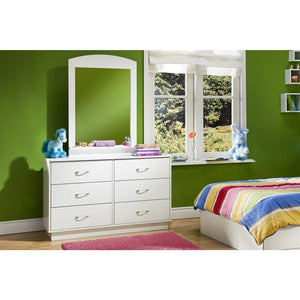 6-Drawer Double Dresser in White Finish with Interchangeable Handles
