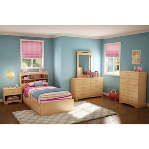 Twin Platform Bed Frame with Storage Drawers in Natural Maple