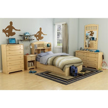 Load image into Gallery viewer, Twin Platform Bed Frame with Storage Drawers in Natural Maple