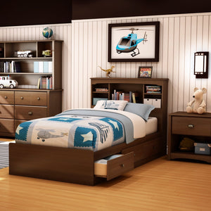 Twin size Cherry Finish Platform Bed with 3 Storage Drawers