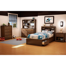 Load image into Gallery viewer, Twin size Cherry Finish Platform Bed with 3 Storage Drawers