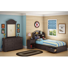 Load image into Gallery viewer, Twin size Arch Top Bookcase Headboard in Chocolate Finish