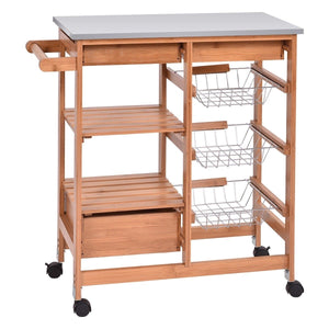 Stainless Steel Top Bamboo Kitchen Island Cart with Casters