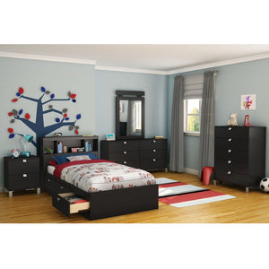 Twin size Platform Bed with 3 Storage Drawers in Black Finish