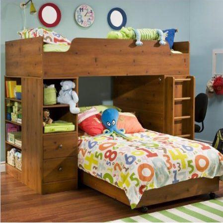 Sunny Pine Twin over Twin L-Shaped Bunk Bed with Storage