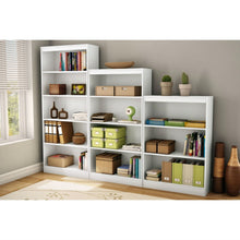 Load image into Gallery viewer, White 4-Shelf Bookcase with 2 Adjustable Shelves