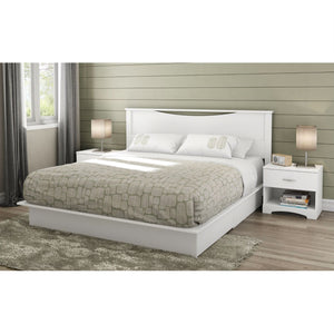 King size Contemporary Headboard in White Wood Finish
