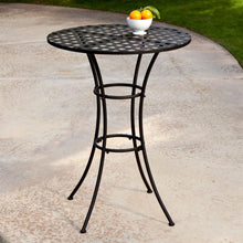 Load image into Gallery viewer, Black Wrought Iron Outdoor Bistro Patio Table with Timeless Round Tabletop