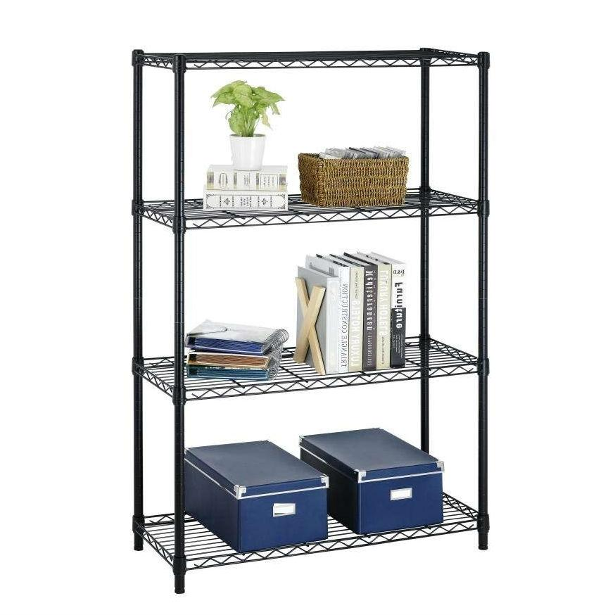 Heavy Duty 4-Shelf Metal Shelving Unit in Black Steel Finish